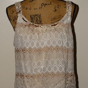 WHBM Sleeveless Dressy Top with Gold Accents Sz. M
